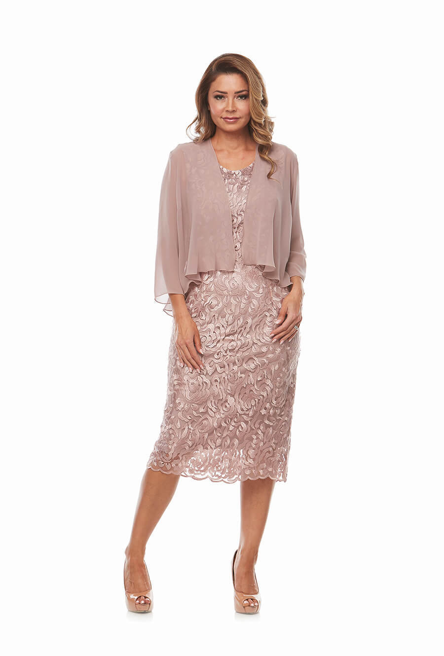 Cocktail soft lace dress with jacket