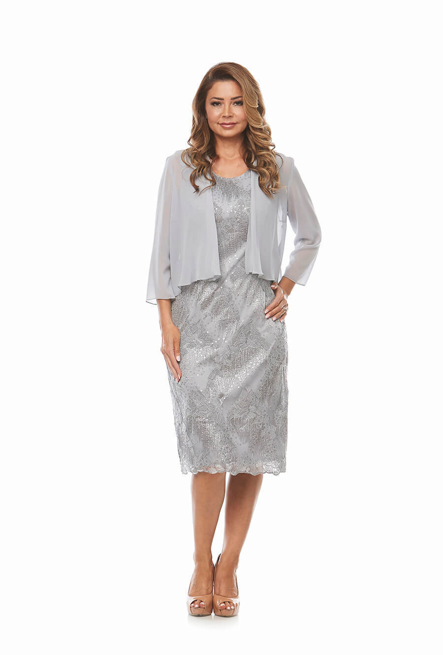 Silver Embroidered Sequinned dress with chiffon jacket