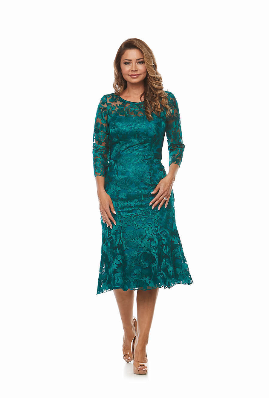 Beautiful Embroidered Lace Dress with 3/4 Sleeve and Fluted Hemline.