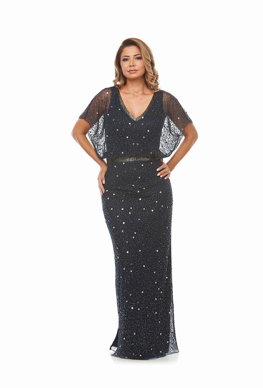 Elegant Long Beaded V Neck Evening Gown