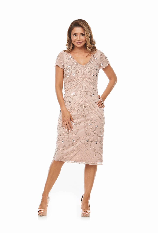 Short V Neckline Beaded Cocktail Dress