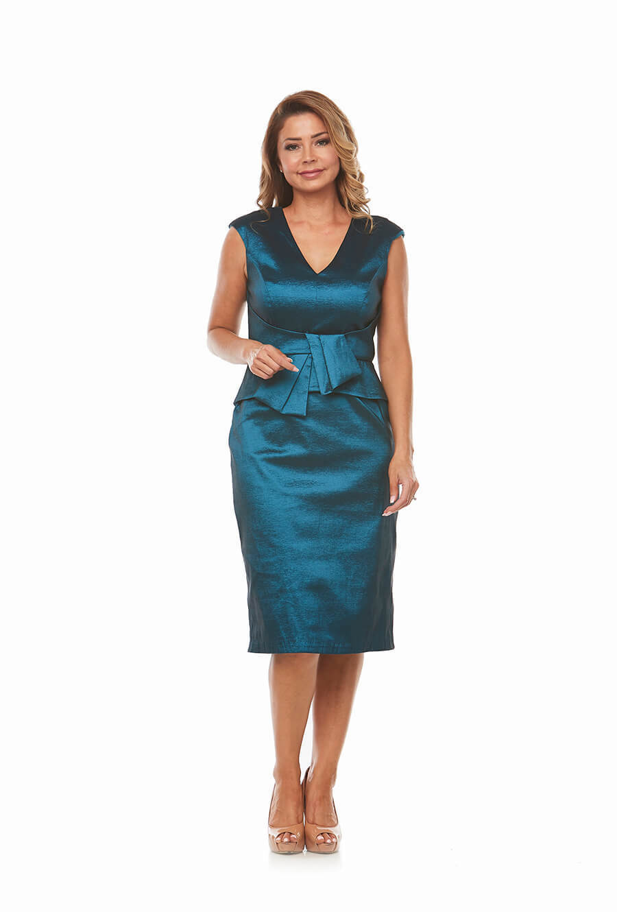 Shantung V Neckline Dress with waist detail