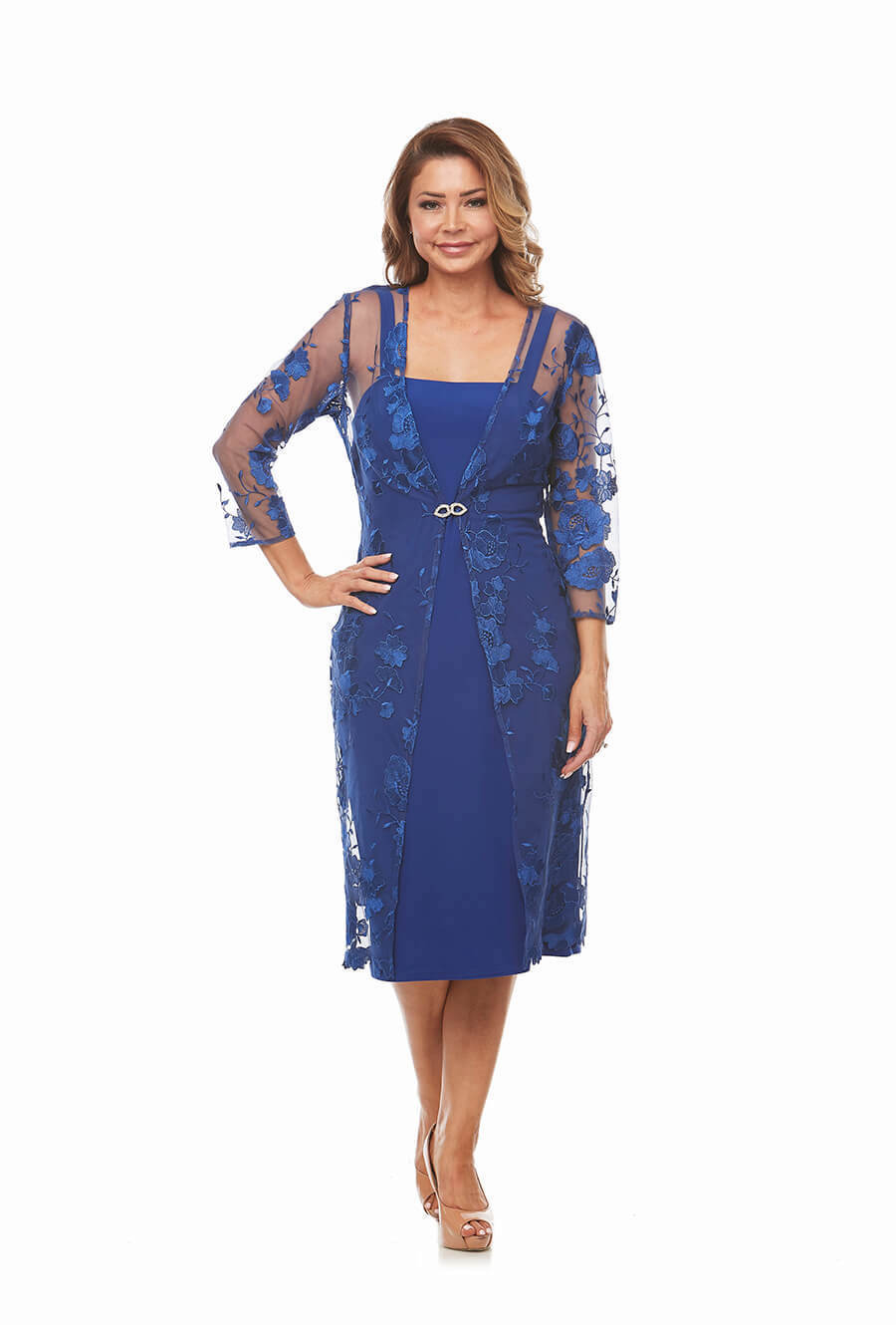2 Piece Dress and Lace Jacket with 3/4 sleeves
