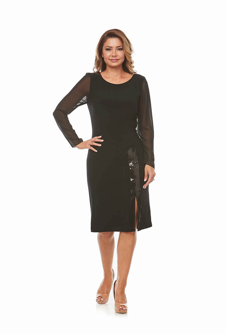 Black Cocktail Dress with long sleeve with sequinned trim and chiffon sleeves