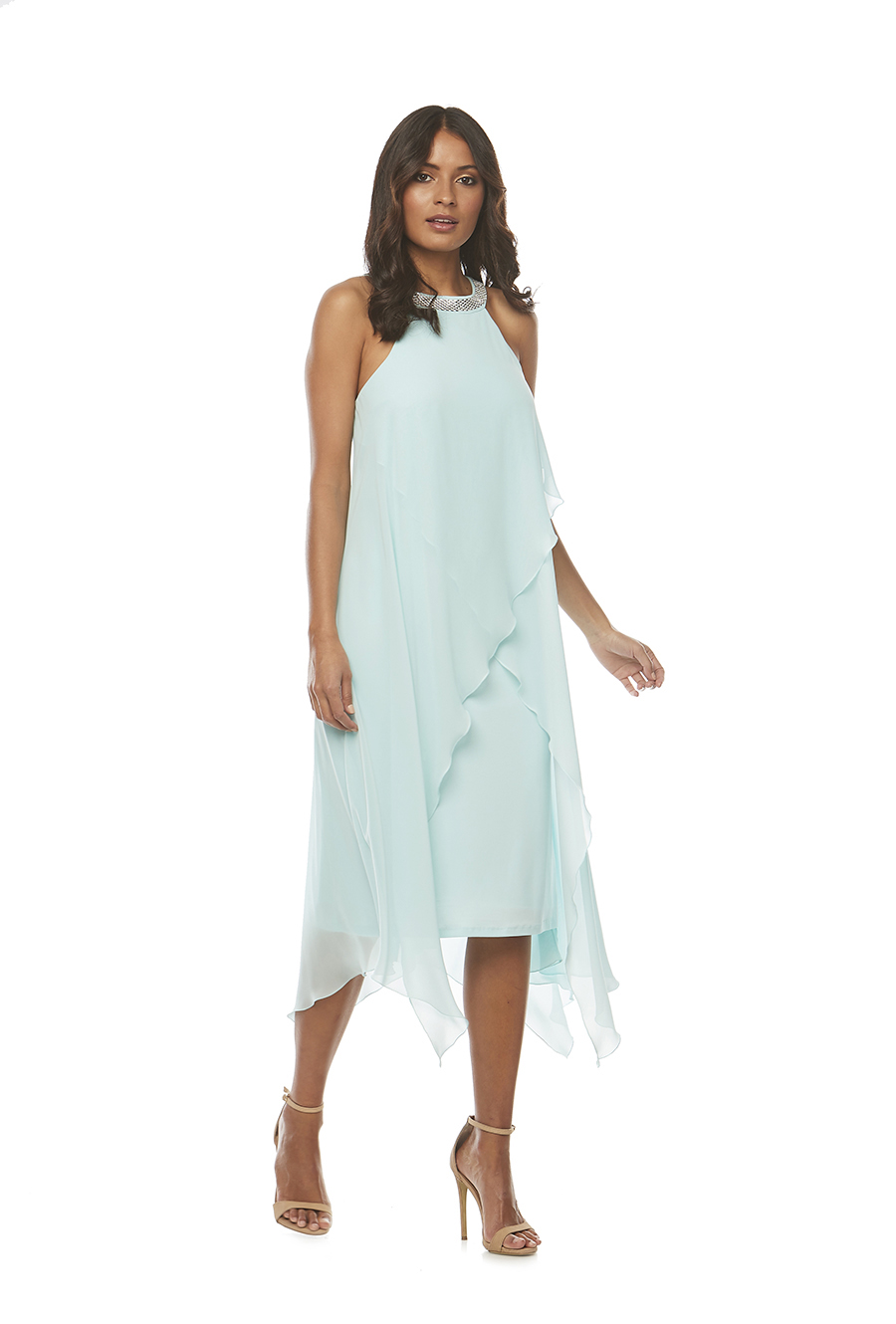 Soft Chiffon layered diamonte trim halter dress