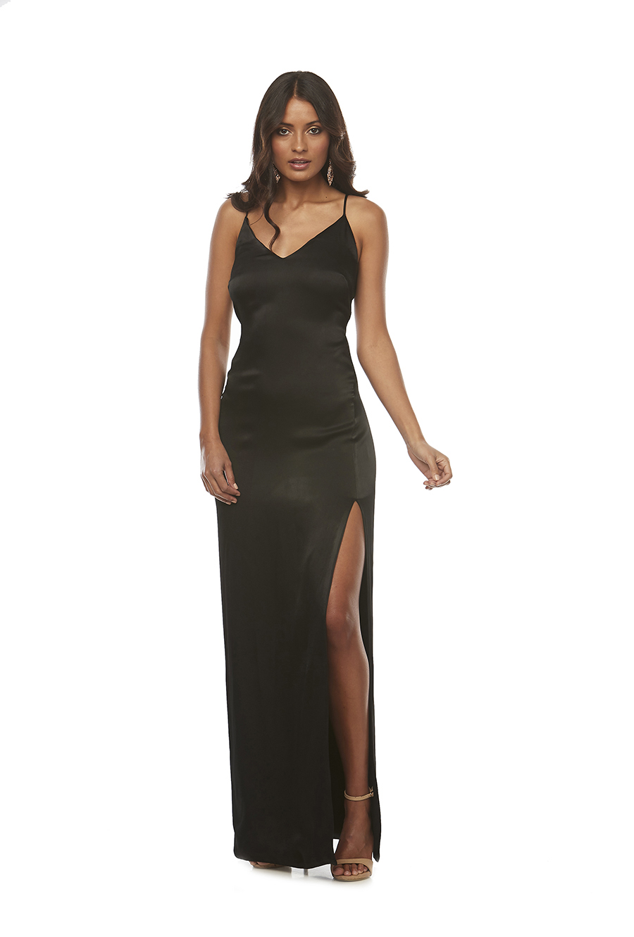 Slinky satin fitted dress with lace up back