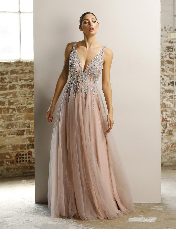 Fairytale Diamonte v neckline gown with tule skirt