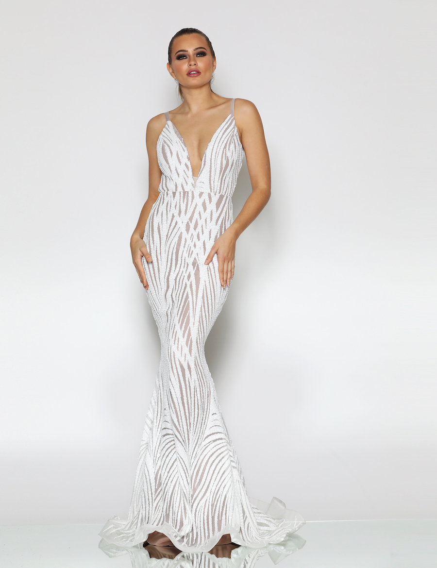 Stunning plunging neckline sequinned gown with low back