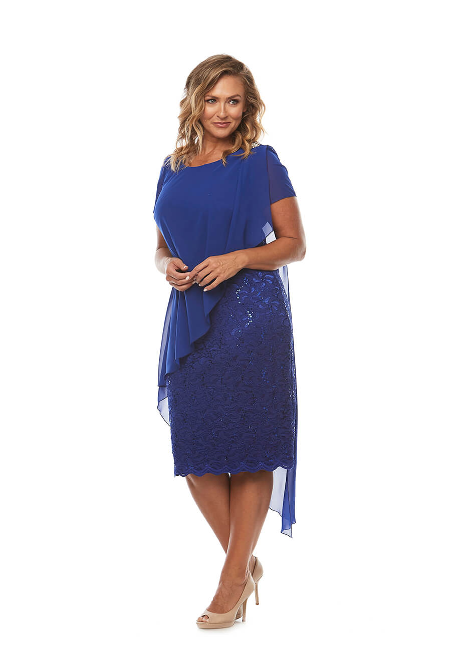 Short sleeve slimming dress with chiffon overlay and diamonte on shoulder