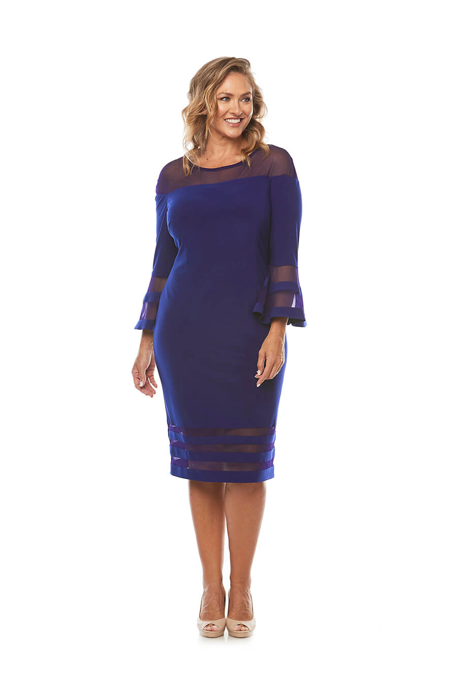 Jersey dress with 3/4 sleeves and striped mesh trim