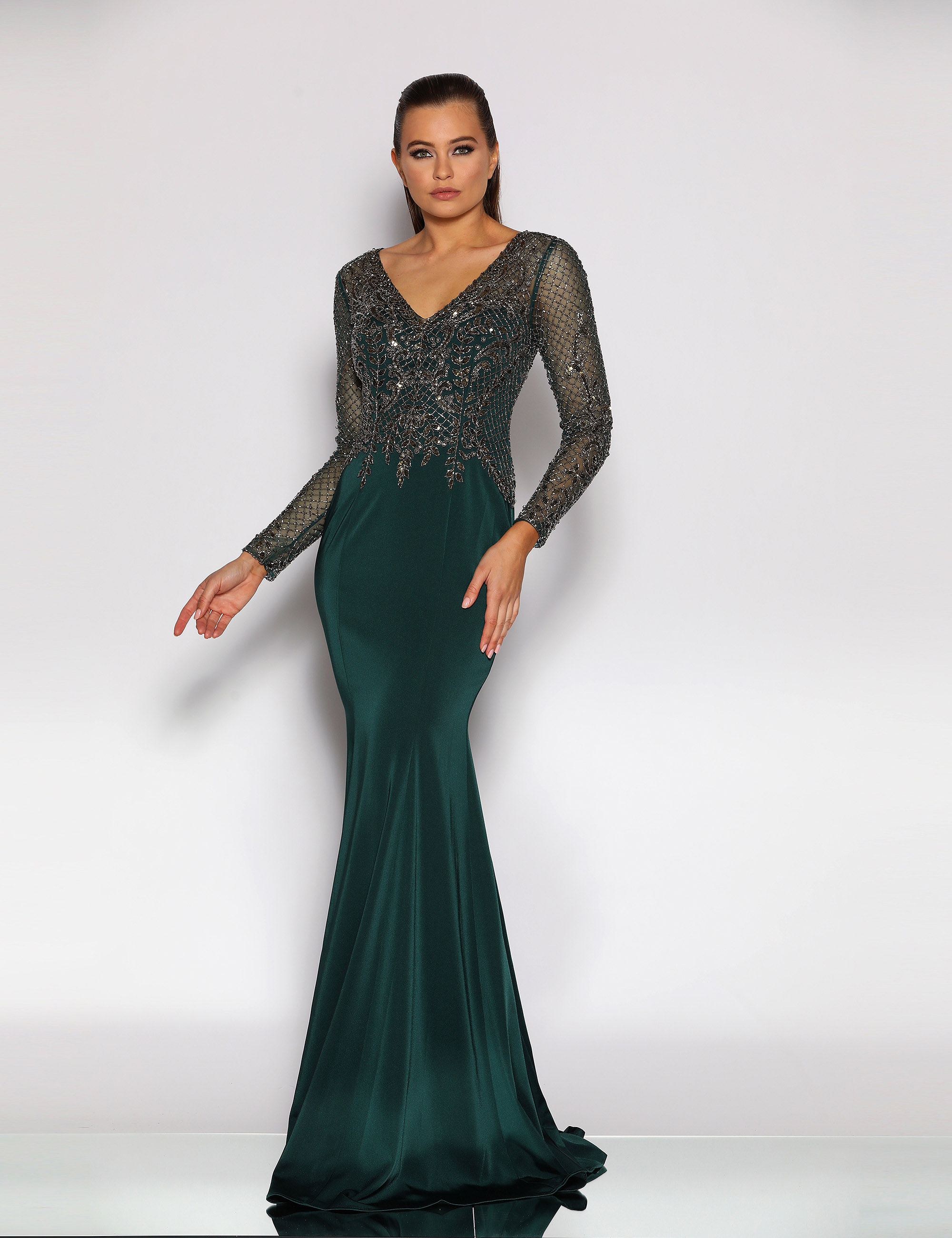 Long sleeve V neck beaded bodice floor length gown