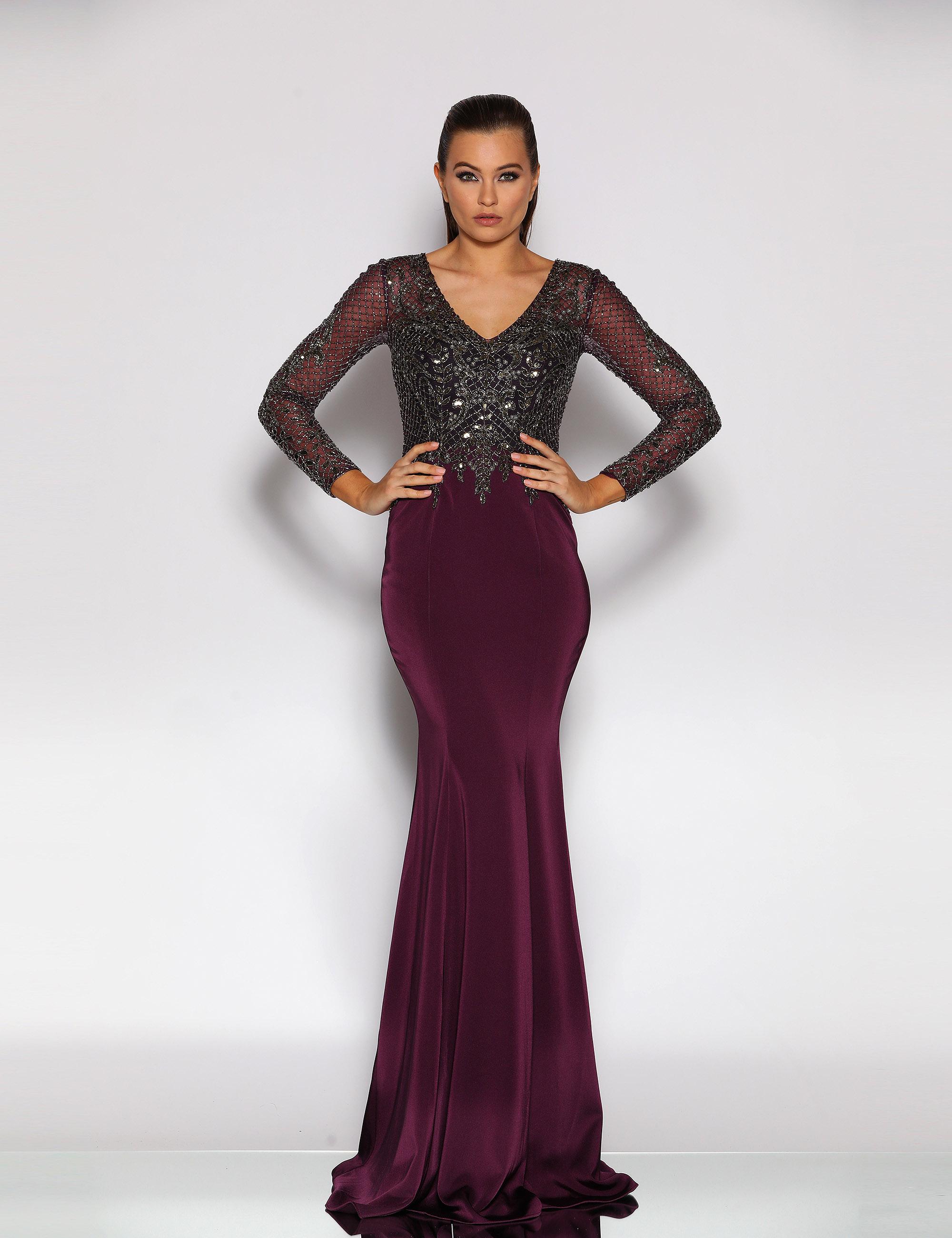 Long sleeve V neck beaded bodice floor length gown