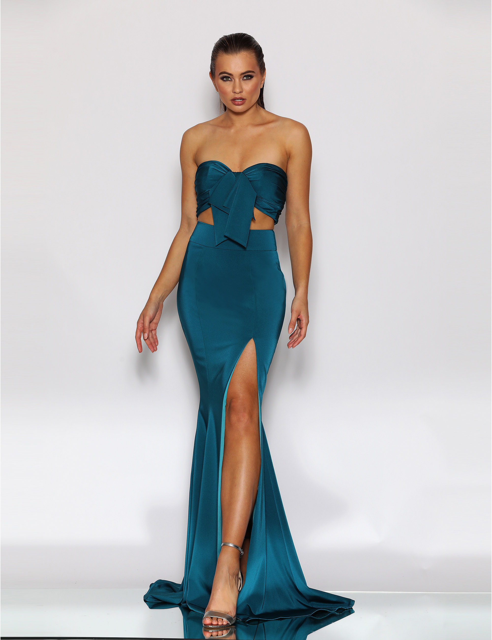 Strapless 2 piece with tie front and full length skirt with high split