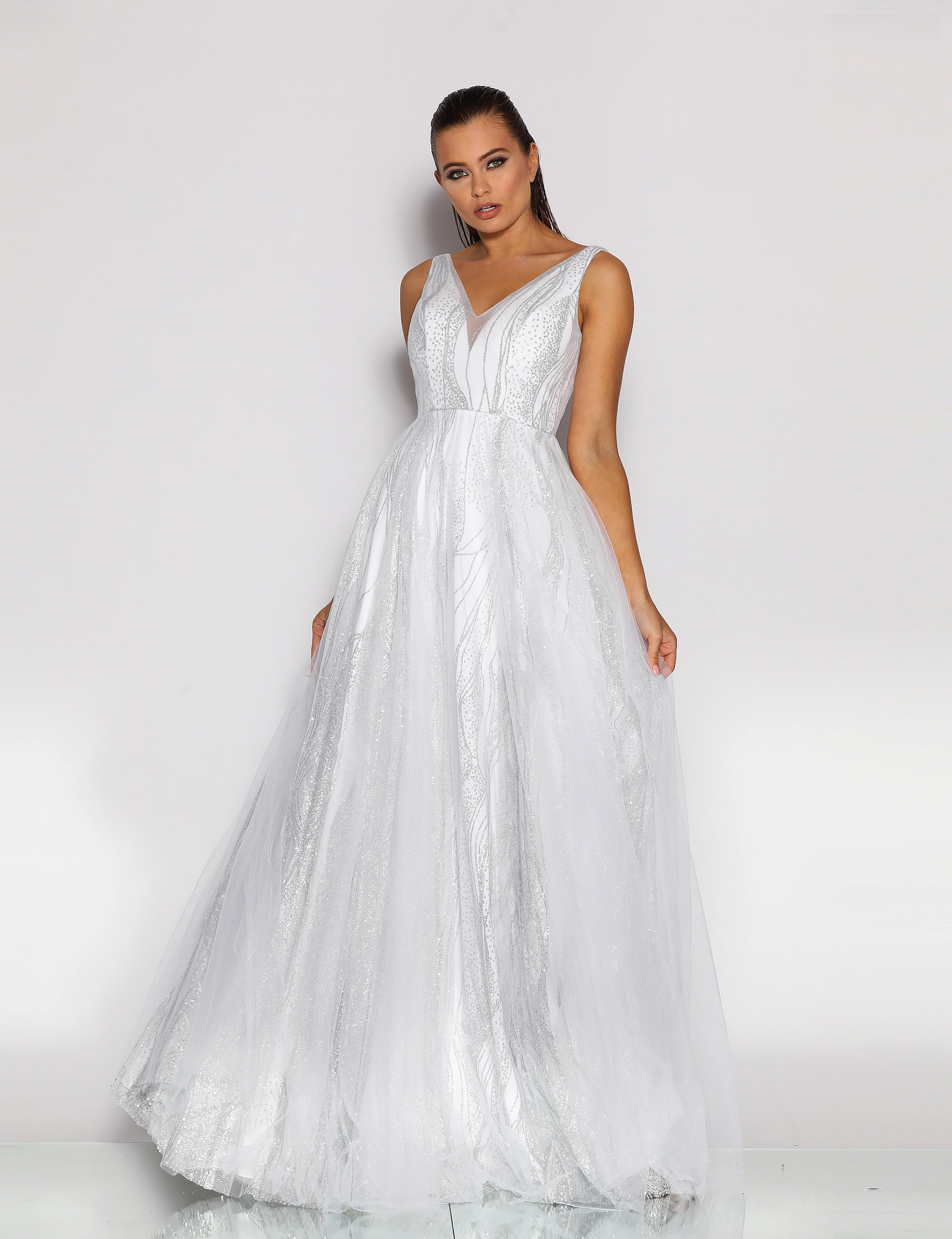 Stunning A line gown with V neckline in beautiful shimmer fabric