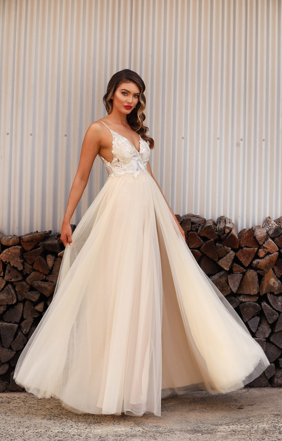 A Beautiful soft full length gown with lace bodice and tulle skirt