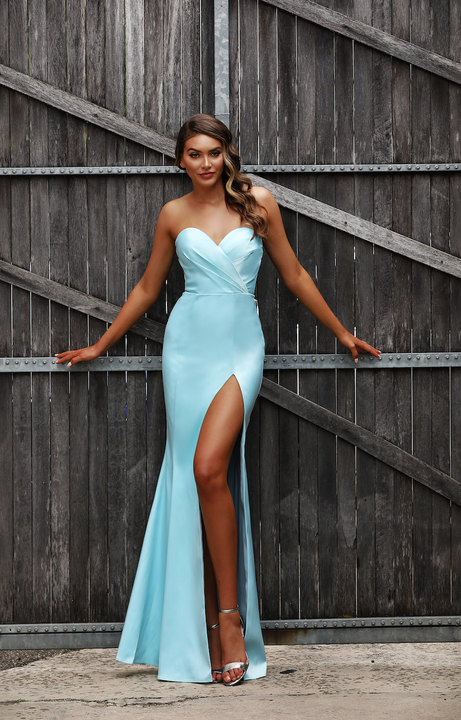 Strapless Stretch Satin Sweetheart neckline fitted gown with high split.