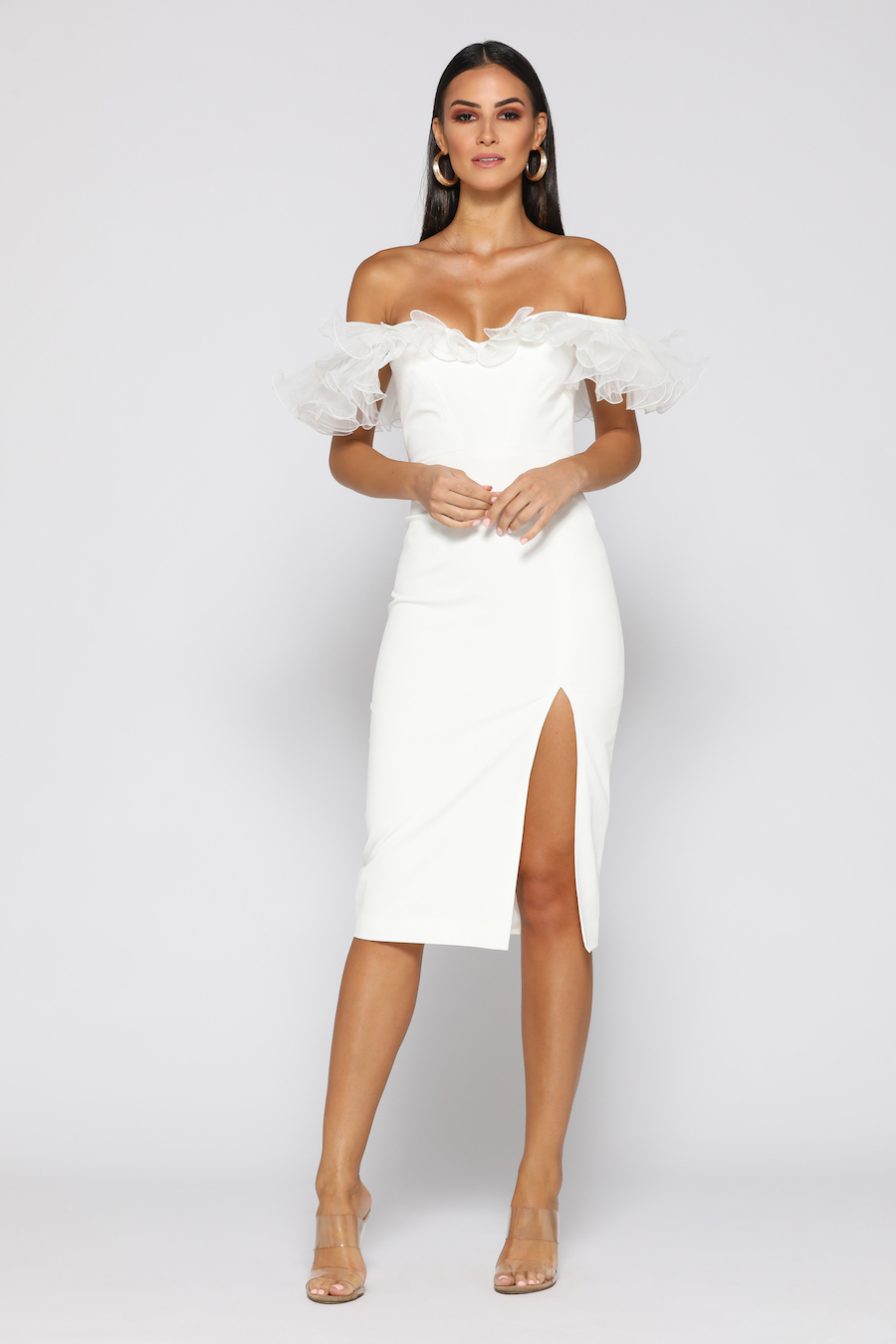 Off the shoulder ruffled fitted dress