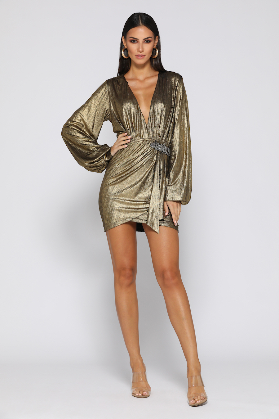 Plunging neckline gold draped long sleeve dress