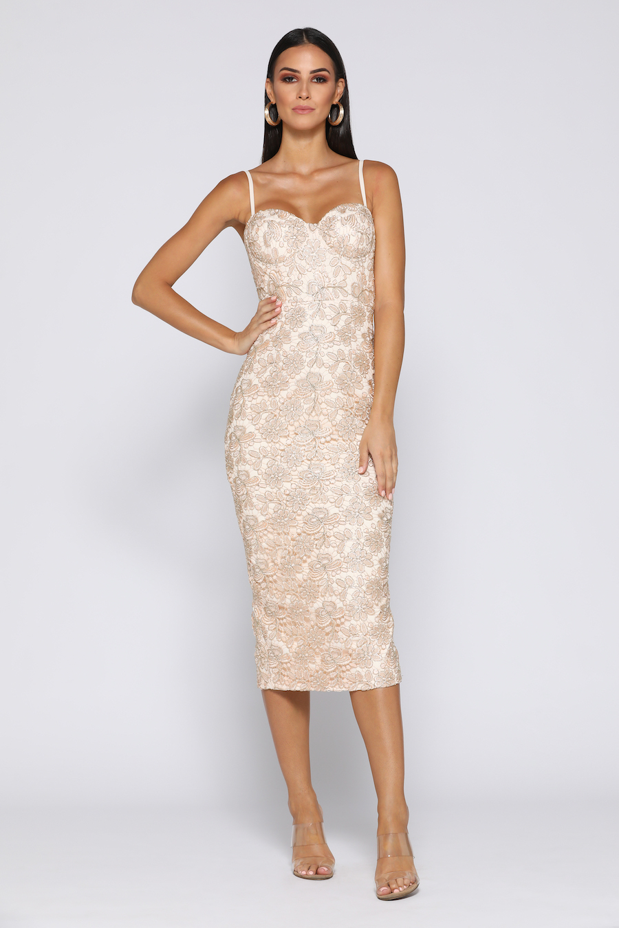 Champagne Lace bustier dress
