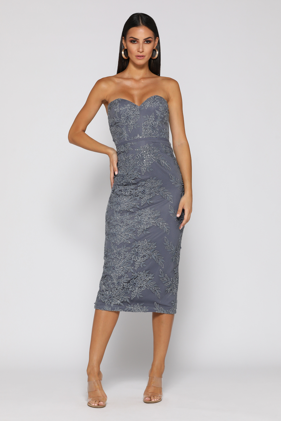 Strapless fitted pewter dress