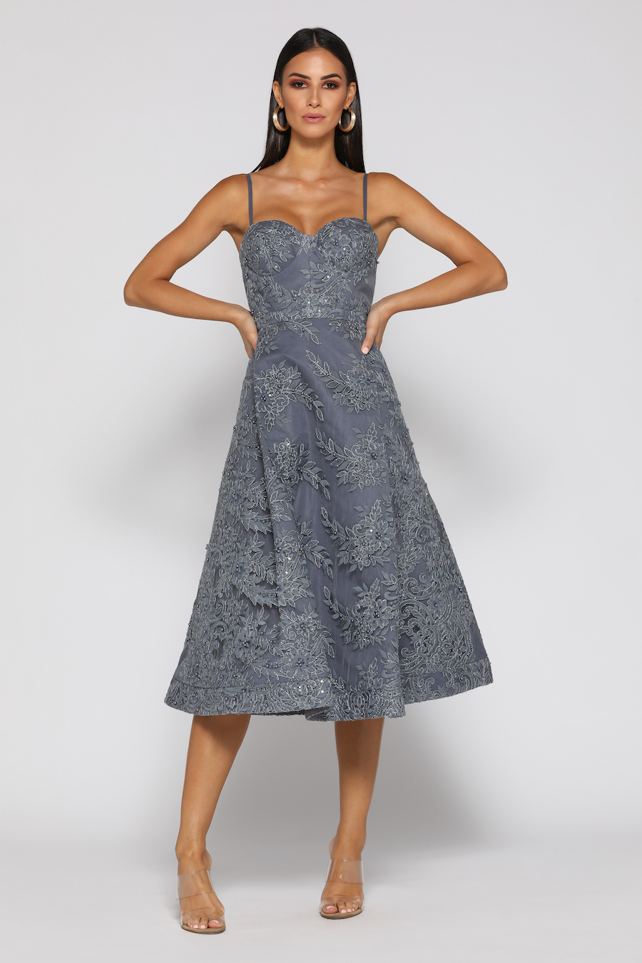 Strapless Pewter with a line skirt and detachable straps