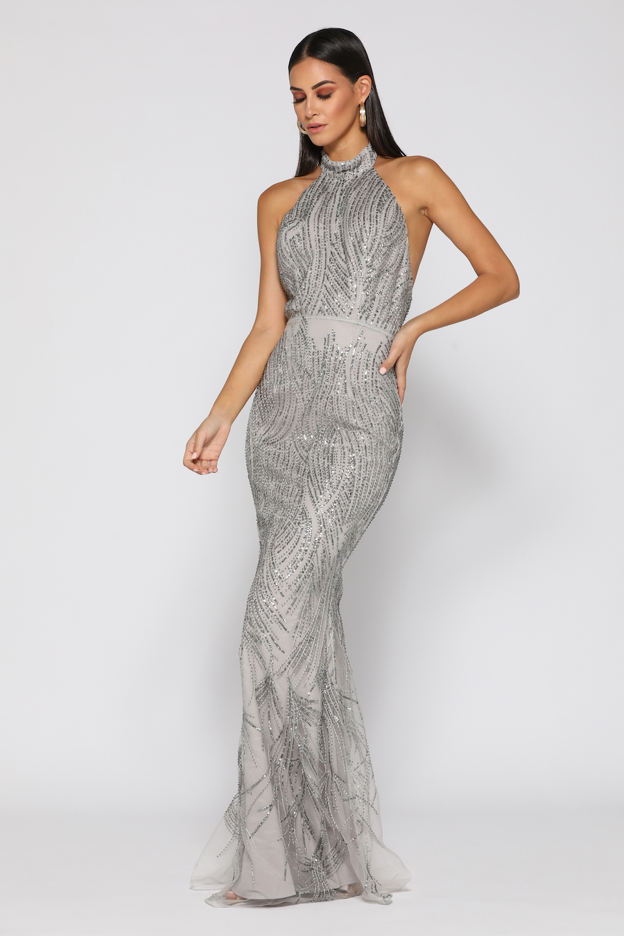 High neck fine sequinned gown