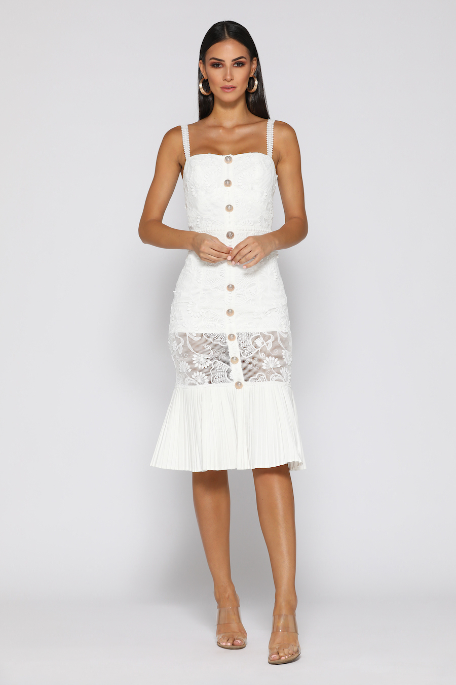 Lace Dress with button detail and pleated hem