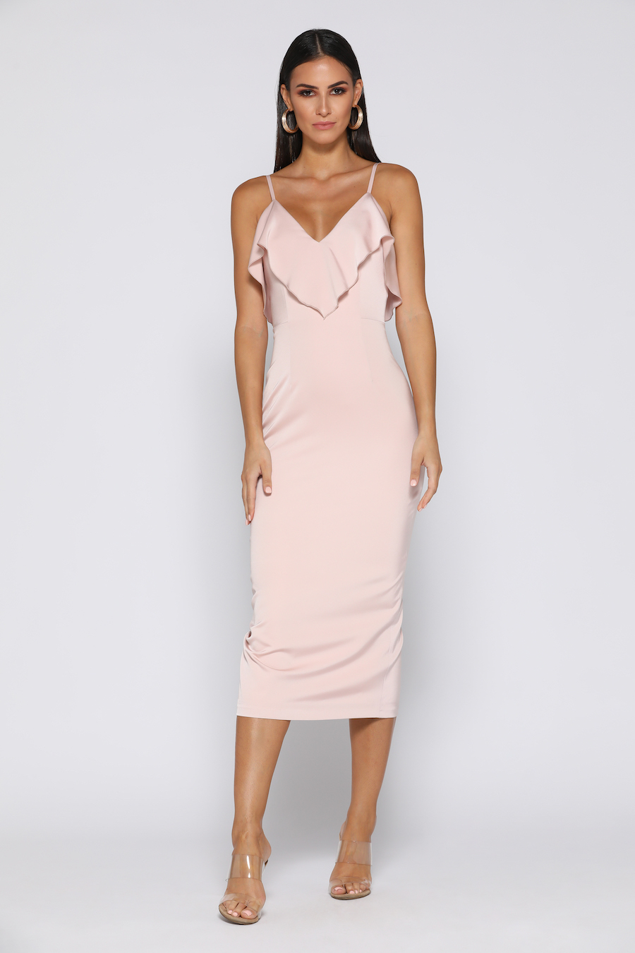 Soft Satin Spaghetti Strap dress with frill detail
