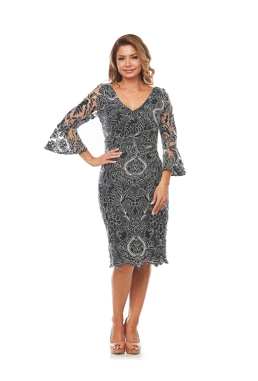 V Neckline Beautiful Corded Lace with bell sleeve