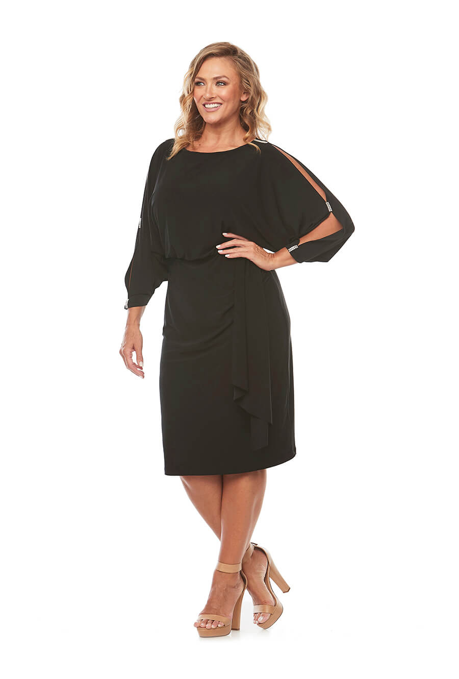 Little black dress in soft jersey with split sleeve and diamante detail