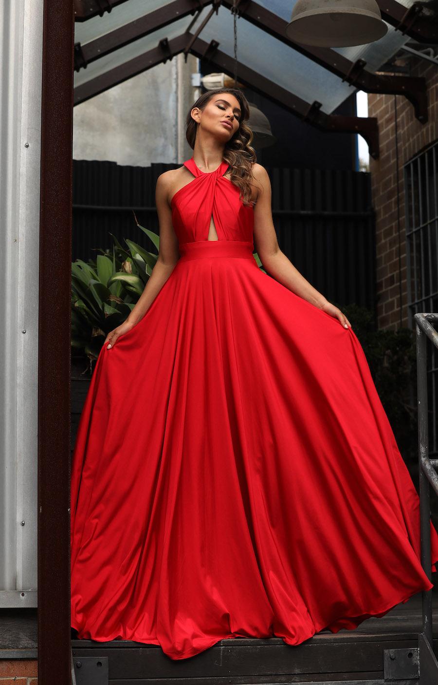 Striking halter gown with full skirt