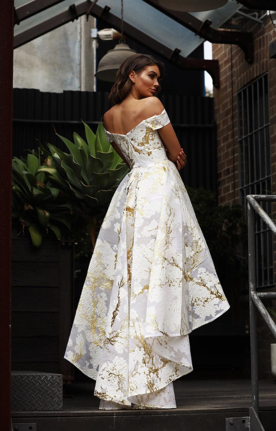 Gorgeous hi-low formal dress with metallic foil detail
