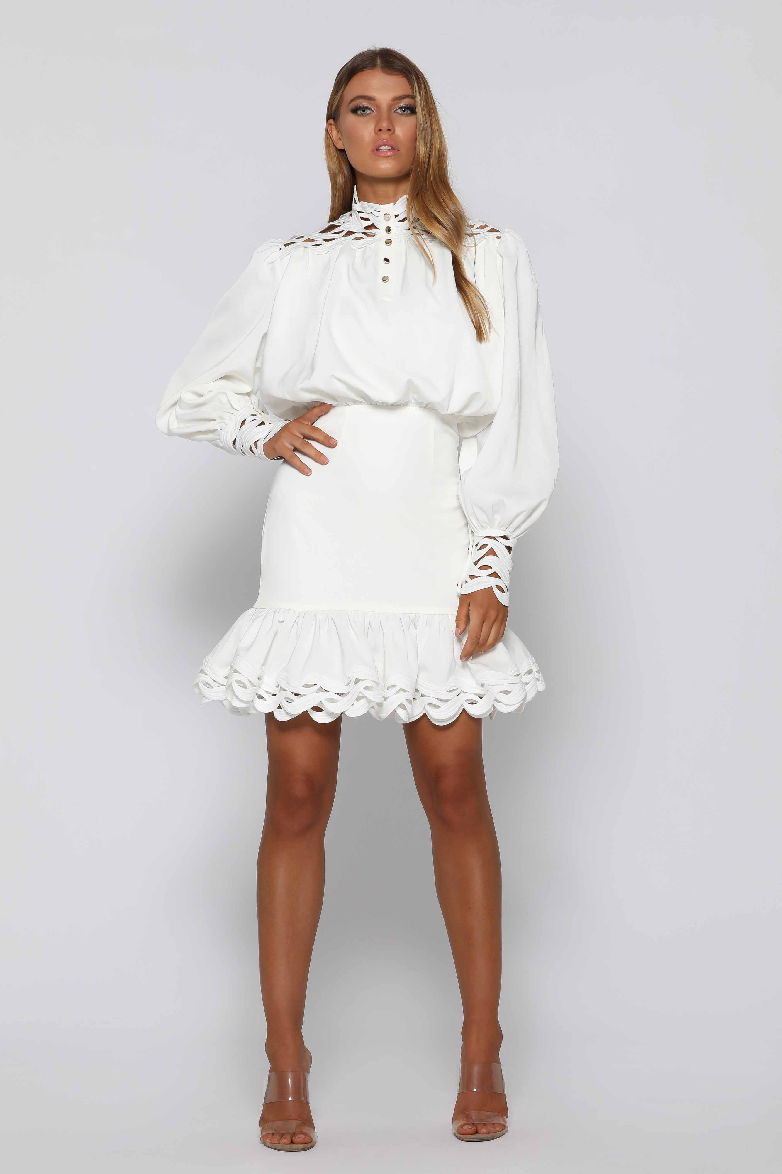 High neck Ruffled dress with lace detail and gold buttons
