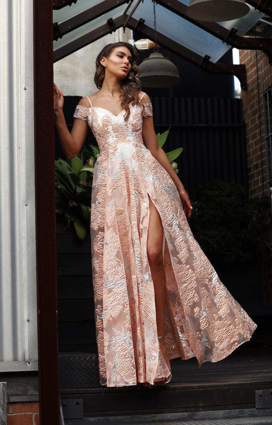 Off shoulder Ivory/gold Foil dress with full skirt and front split