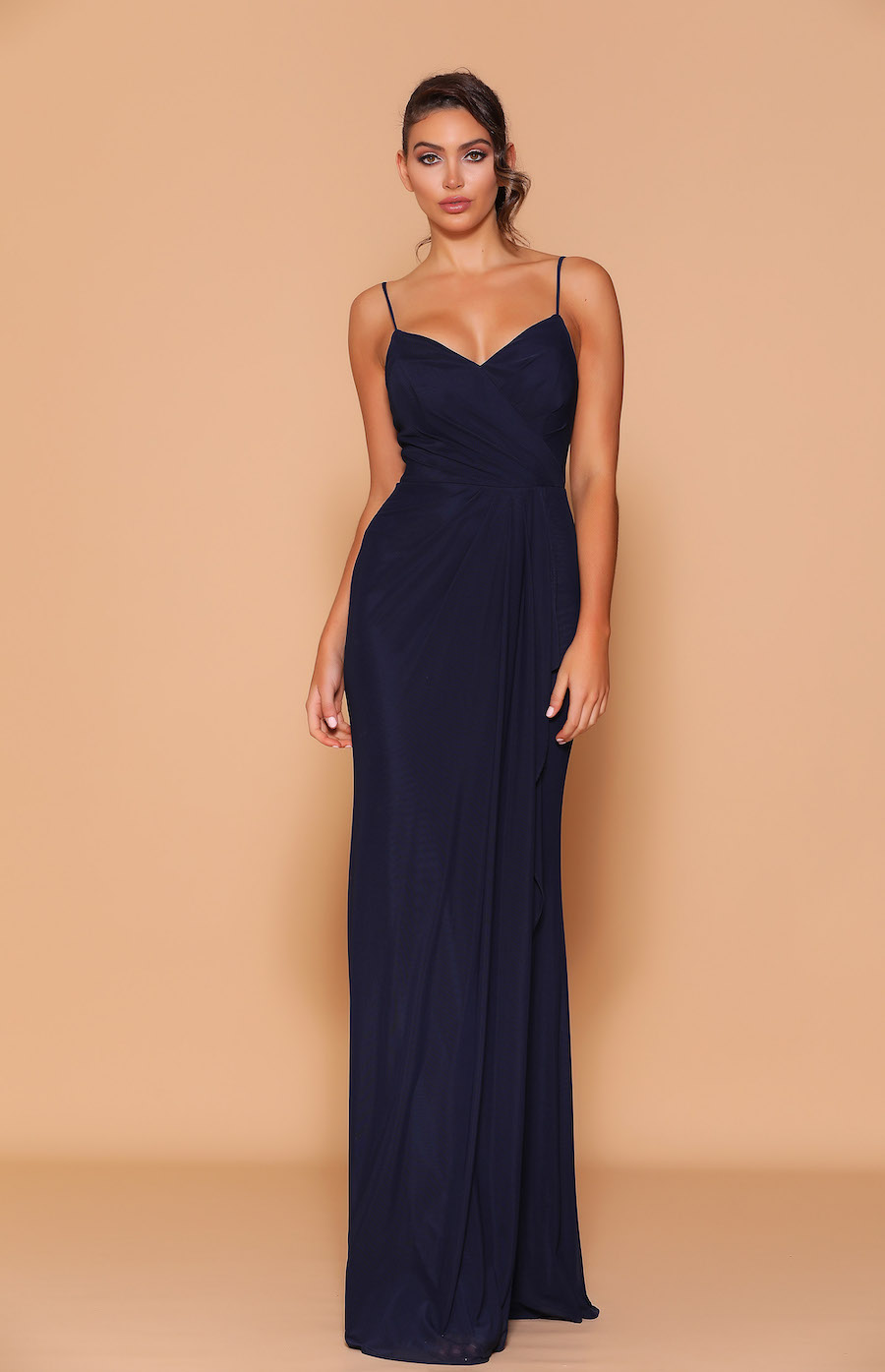 spaghetti strap v-neck rouched full length gown.