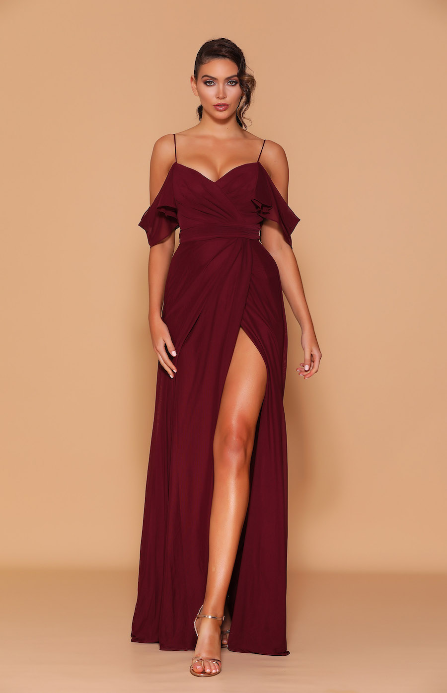 Spaghetti strap dress with draped shoulder and rouched bodice