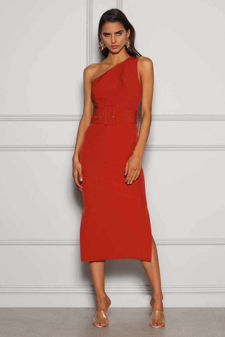One shoulder fitted dress with wide waisted belt