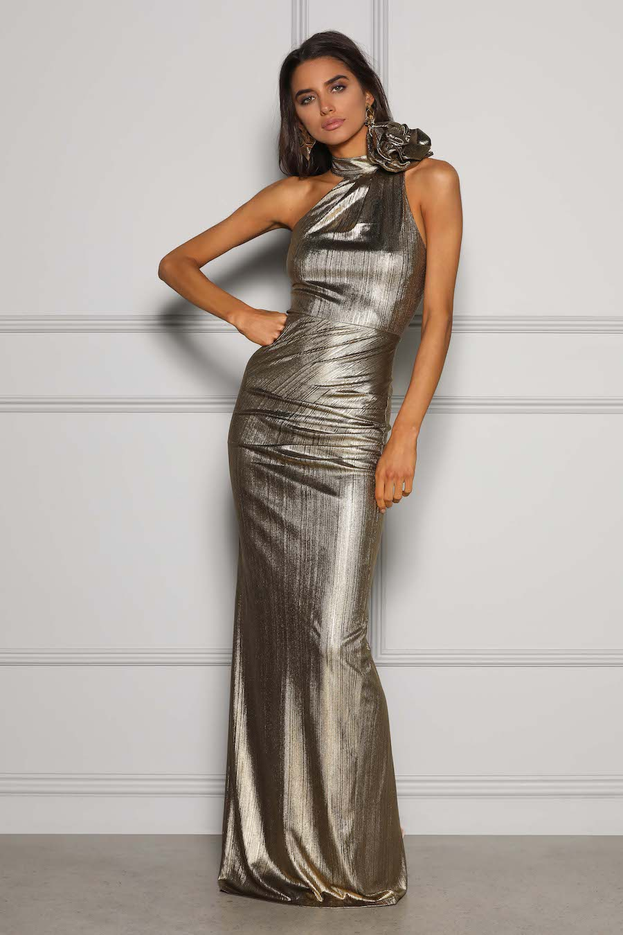 Gold metallic high neck gown with detachable rose detail