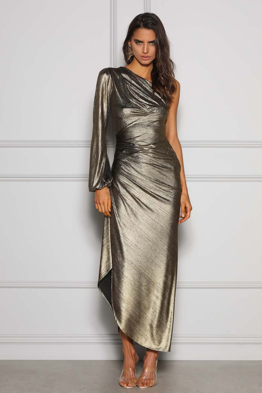 One shoulder ruched gold metallic gown