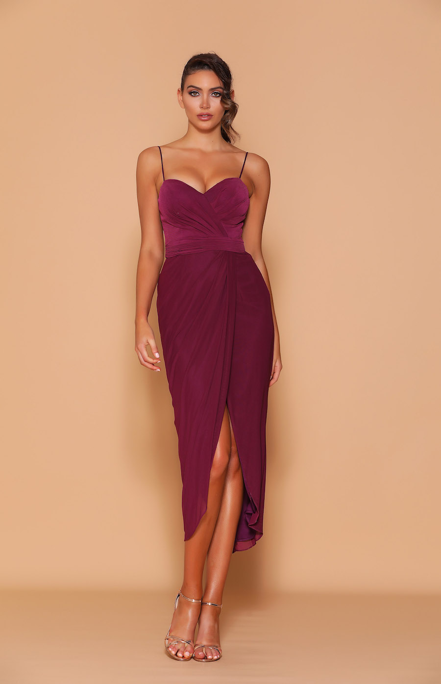 Sweetheart neckline with spaghetti straps tea length cocktail/ bridesmaid dress.