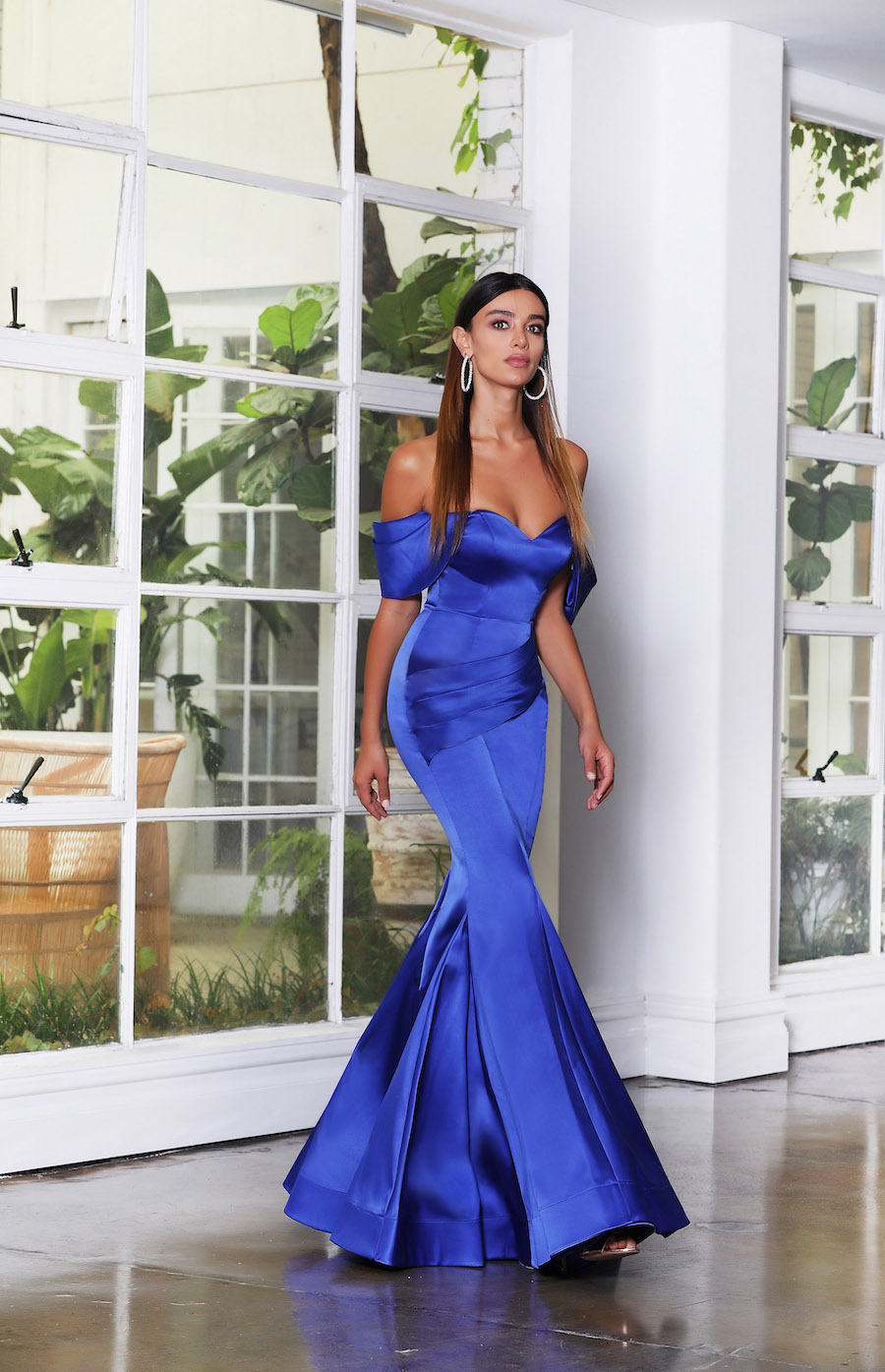 Stunning soft satin off the shoulder gown with pleated detail
