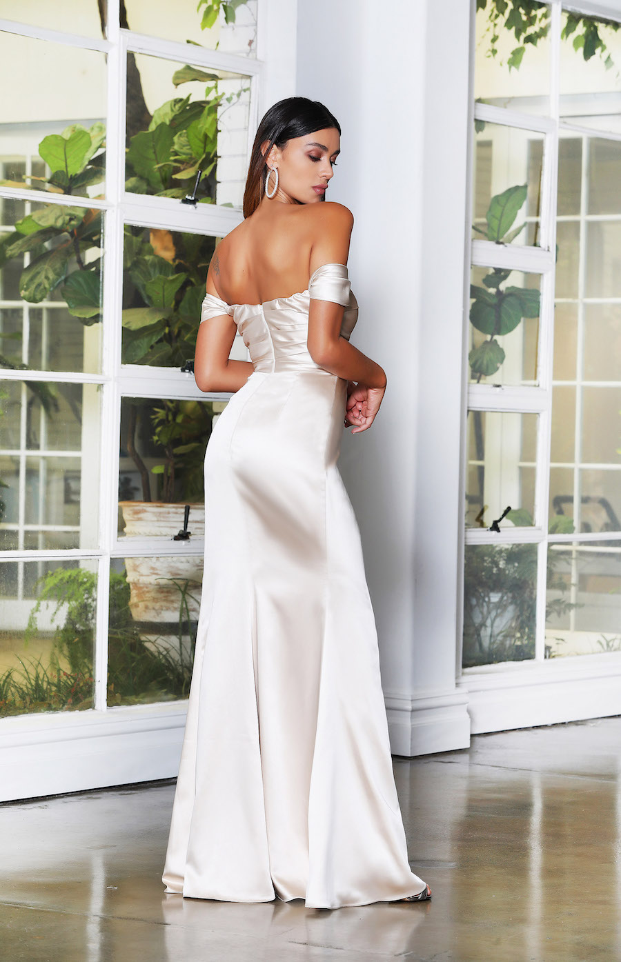 Stunning soft satin off the shoulder rouched dress with thigh high split