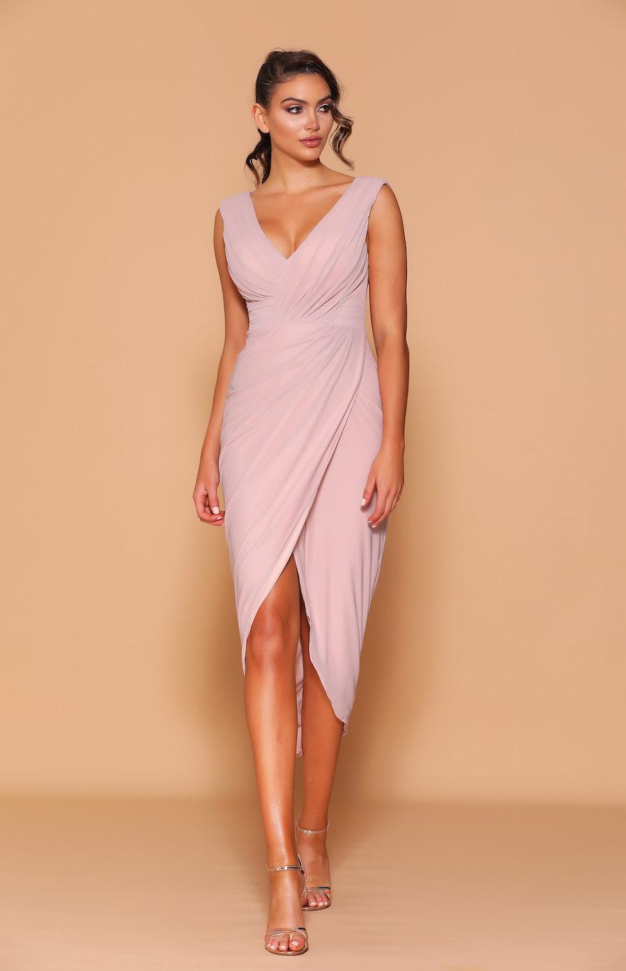 V-neck tea length ruched cocktail dress