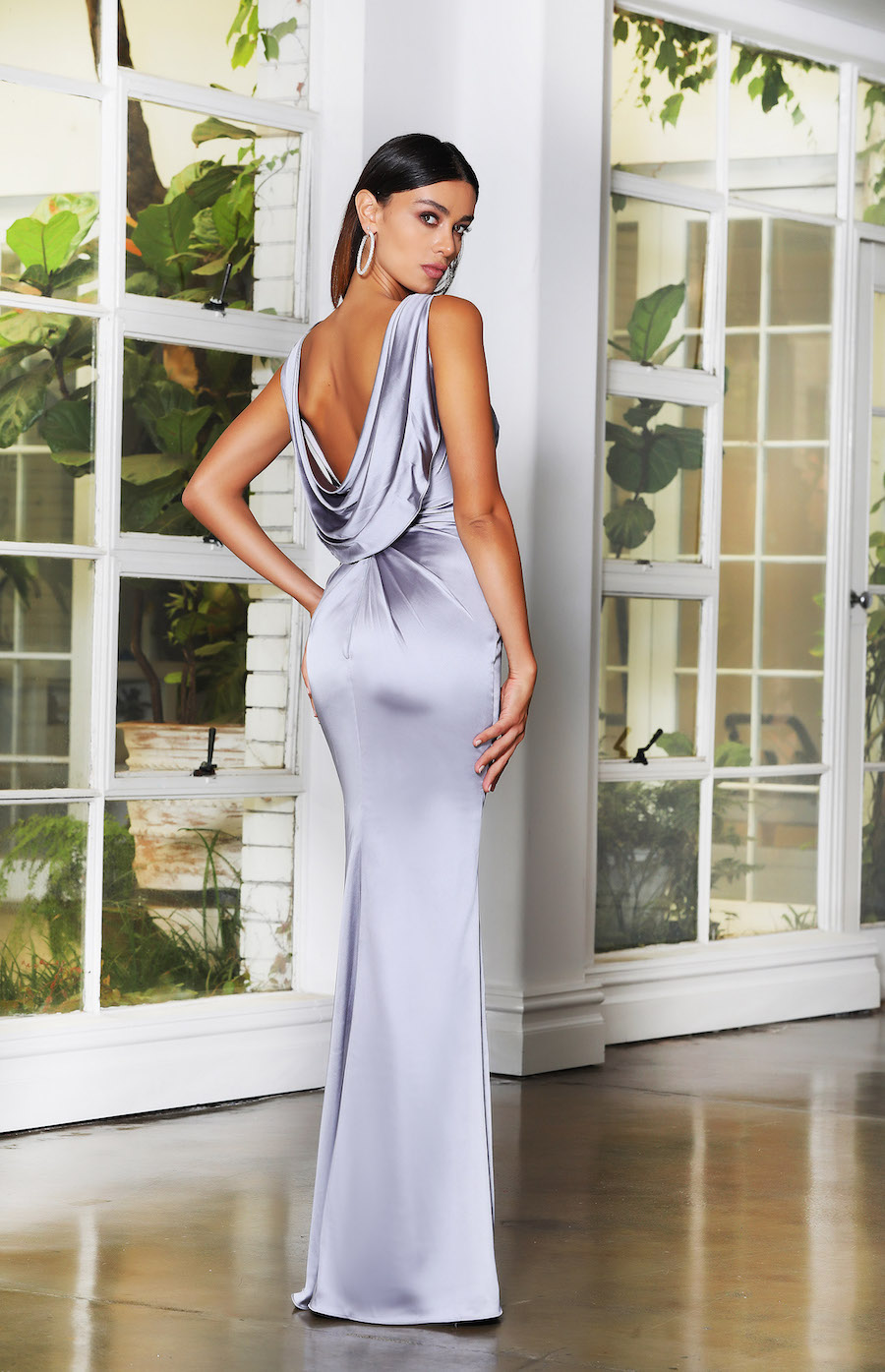 Stunning Soft satin fitted gown with high neckline and cowl back