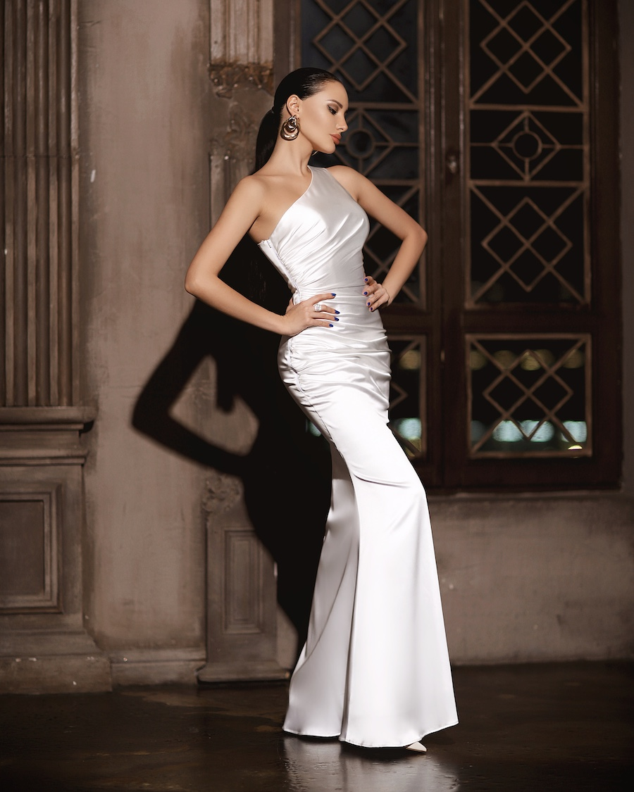 One shoulder satin rouched gown