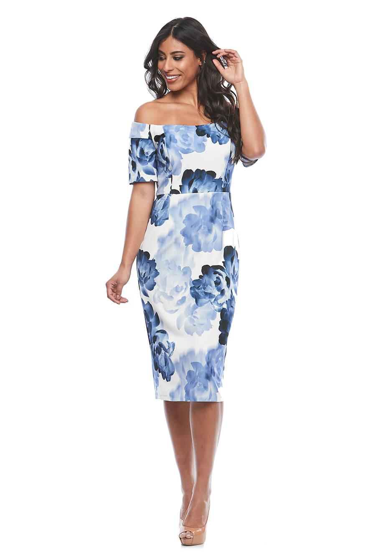 Off the shoulder stretch print dress