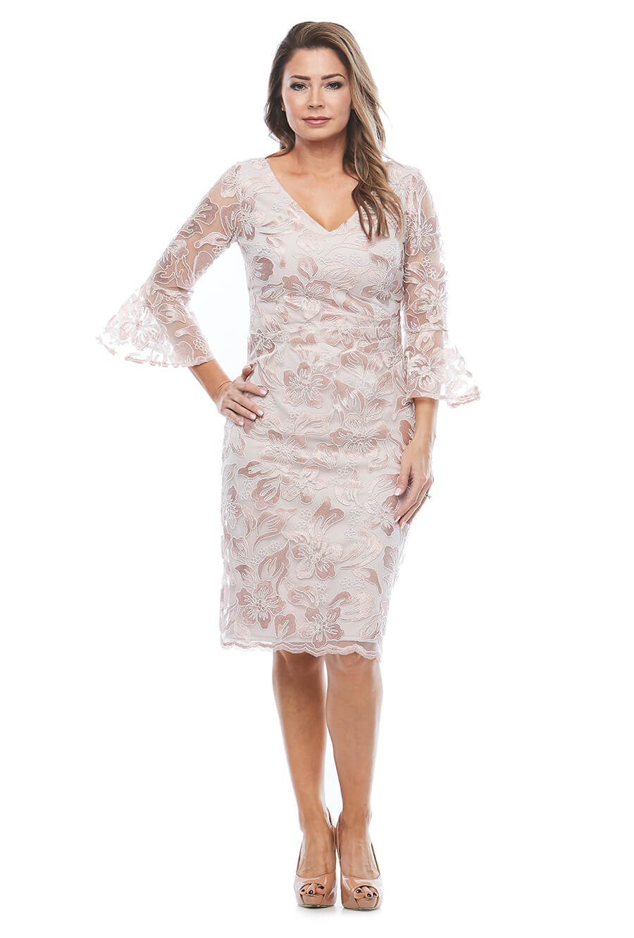 Lace embroidered dress with ruched waist and 3/4 bell sleeves