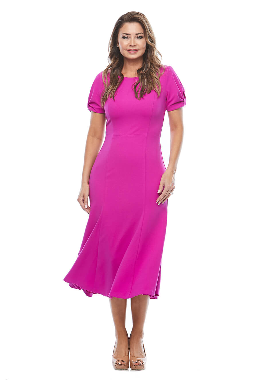 Stretch crepe dress with gathered short sleeves
