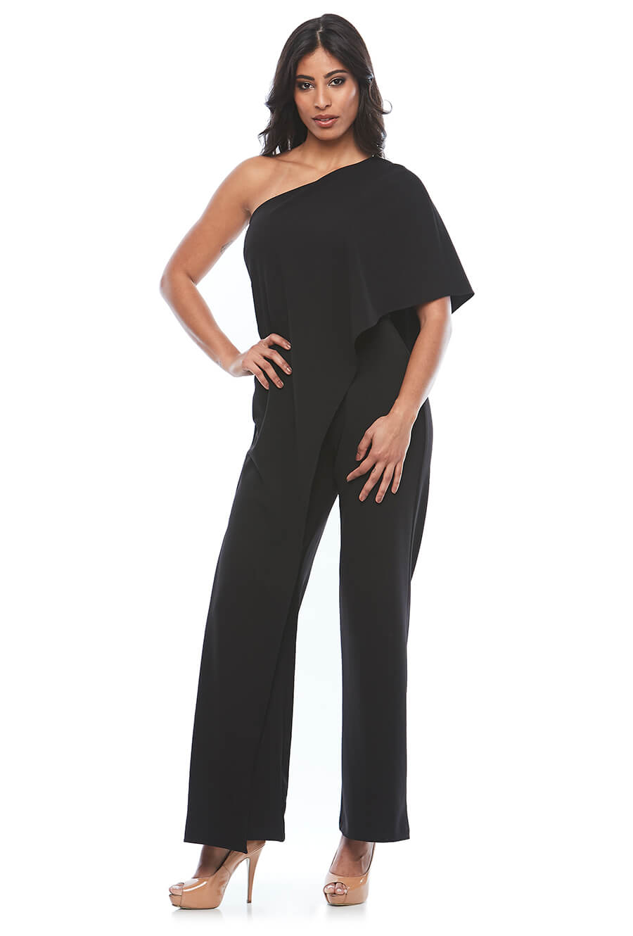 Flattering one shoulder stretch crepe jump suit