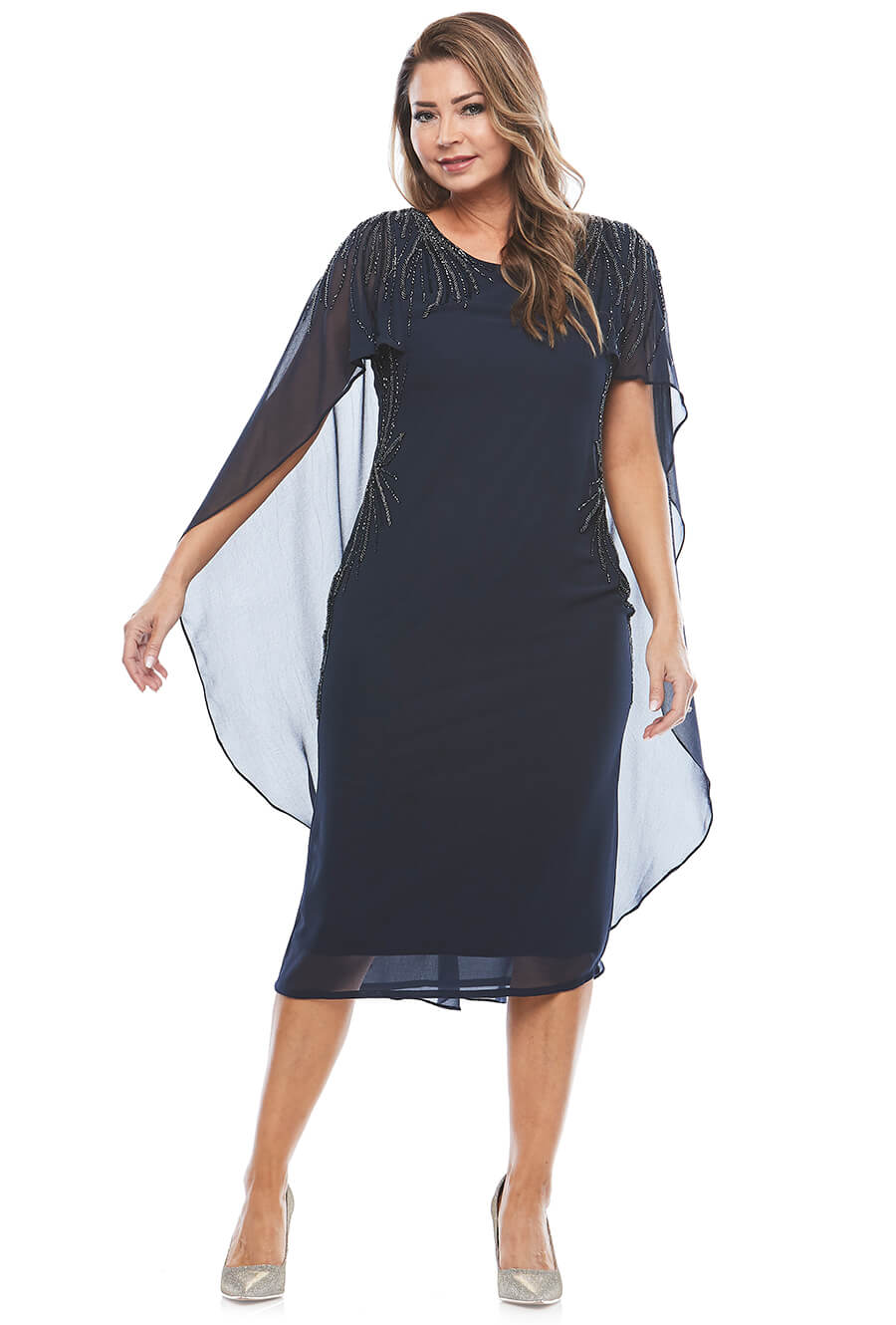 Glamorous shear cape dress with beaded shoulder detail